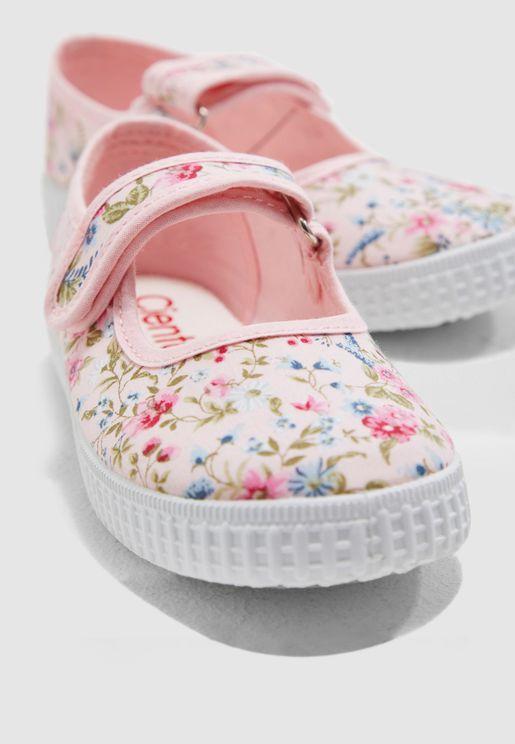 Kids Floral Print Slip On