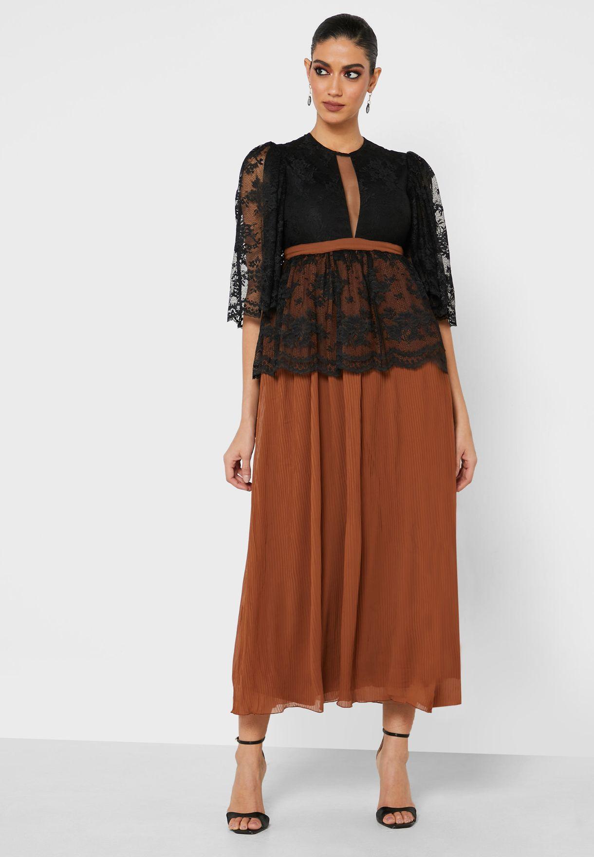 Lace Jacket Pleated Skirt Dress