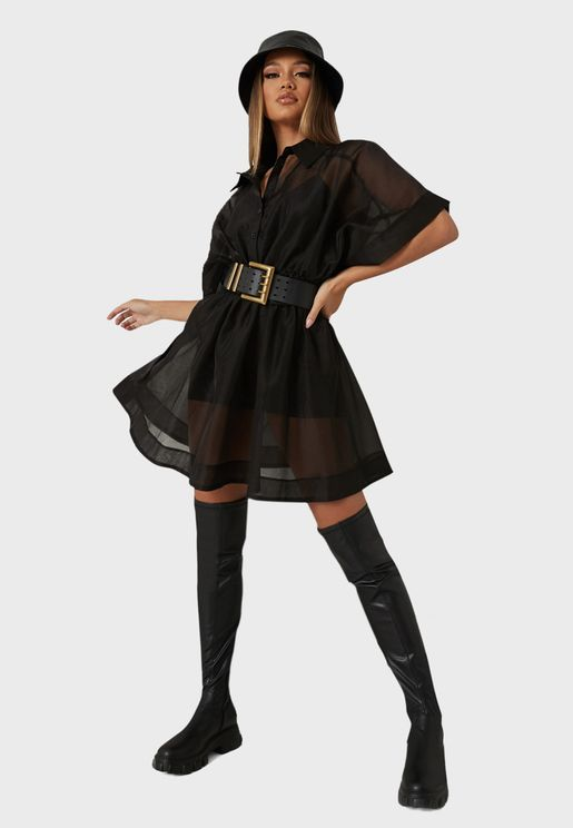 Batwing Mesh Belted Mini Shirt Dress