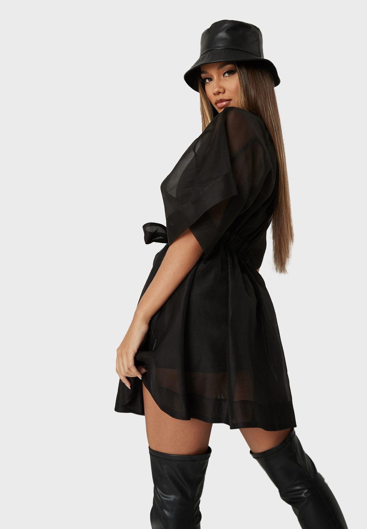فستان شبك بازرار