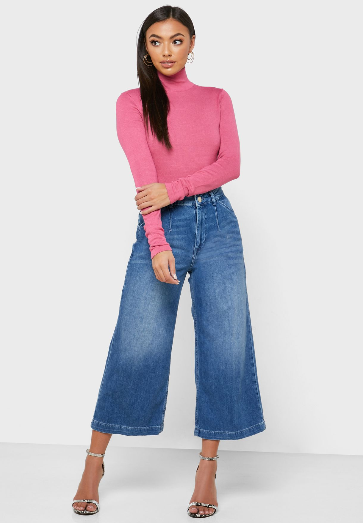 Acid Wash Culotte Jeans