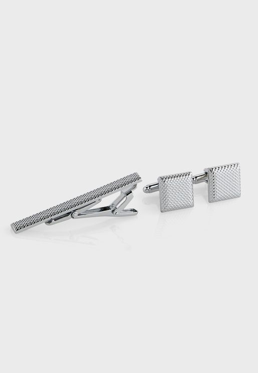 Cufflinks And Tie Bar Pin Set  In Giftbox