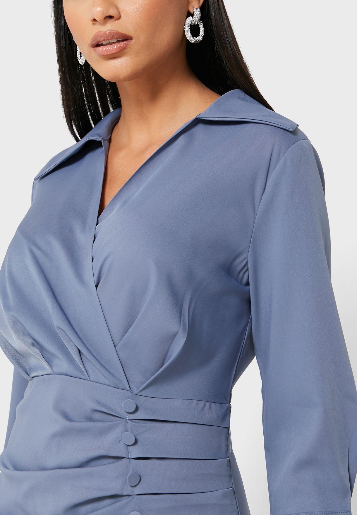 Wrap Front Button Detail Midi Dress