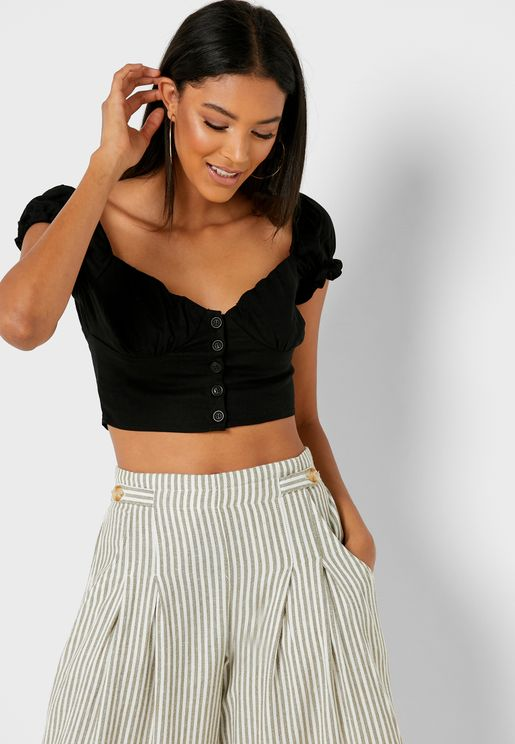 Button Through Bustier Crop Top