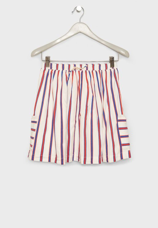 Kids Striped Side Pocket Skirt