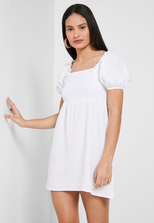 Puff Sleeve Beach Dress