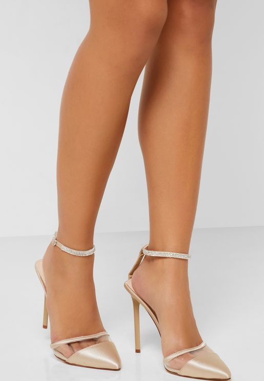 Pointed Toe Pumps With Embellished Strap Detail