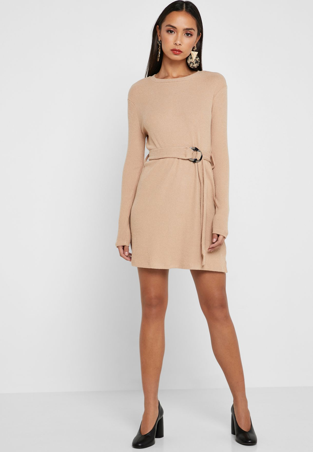 Belted Ribbed Dress