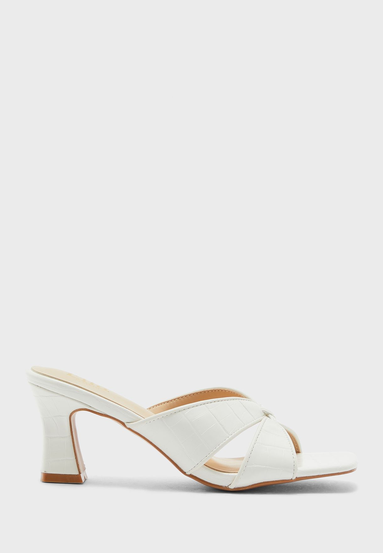 Twisted Front Textured  Mule