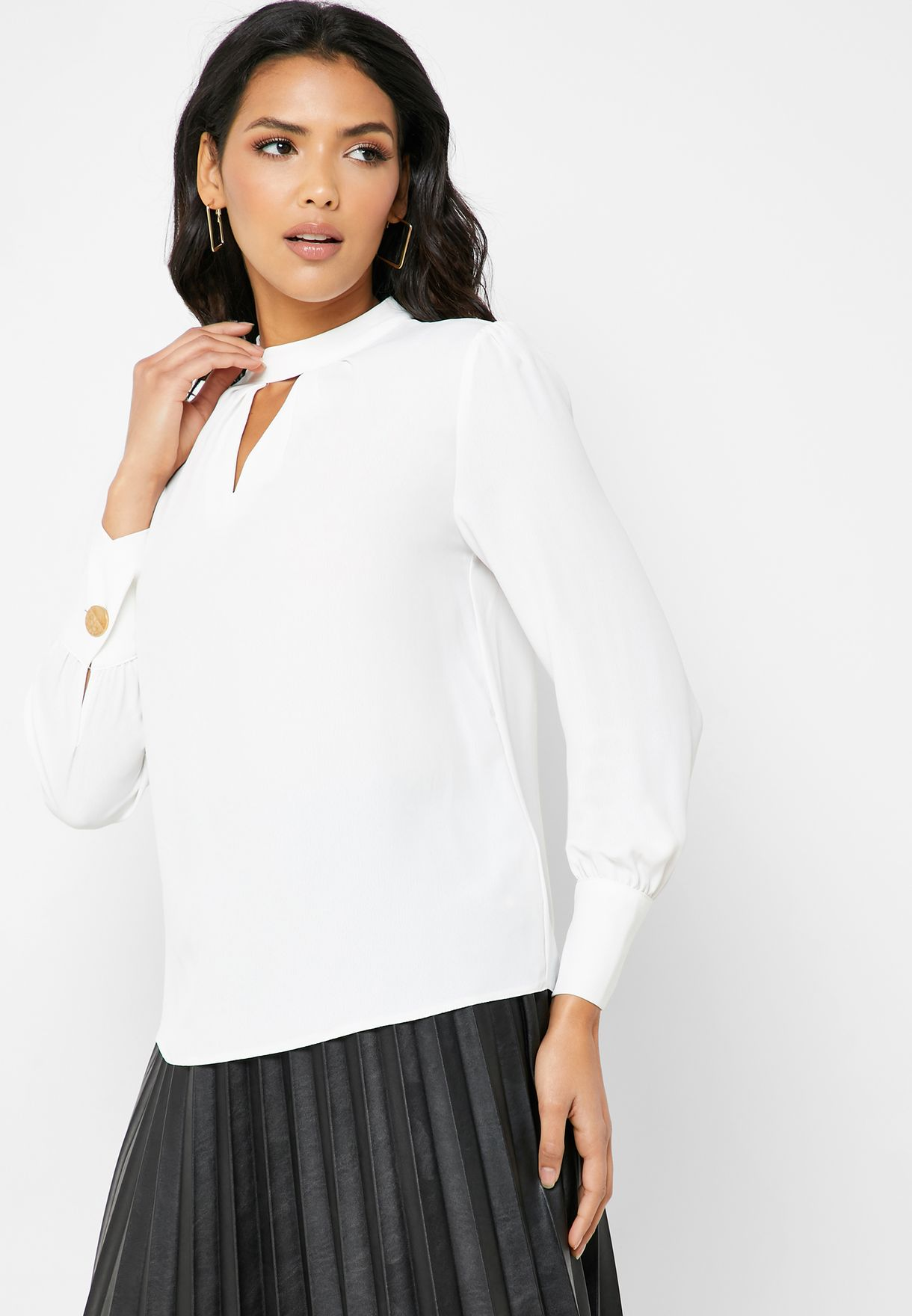 Pleated Neck Keyhole Top