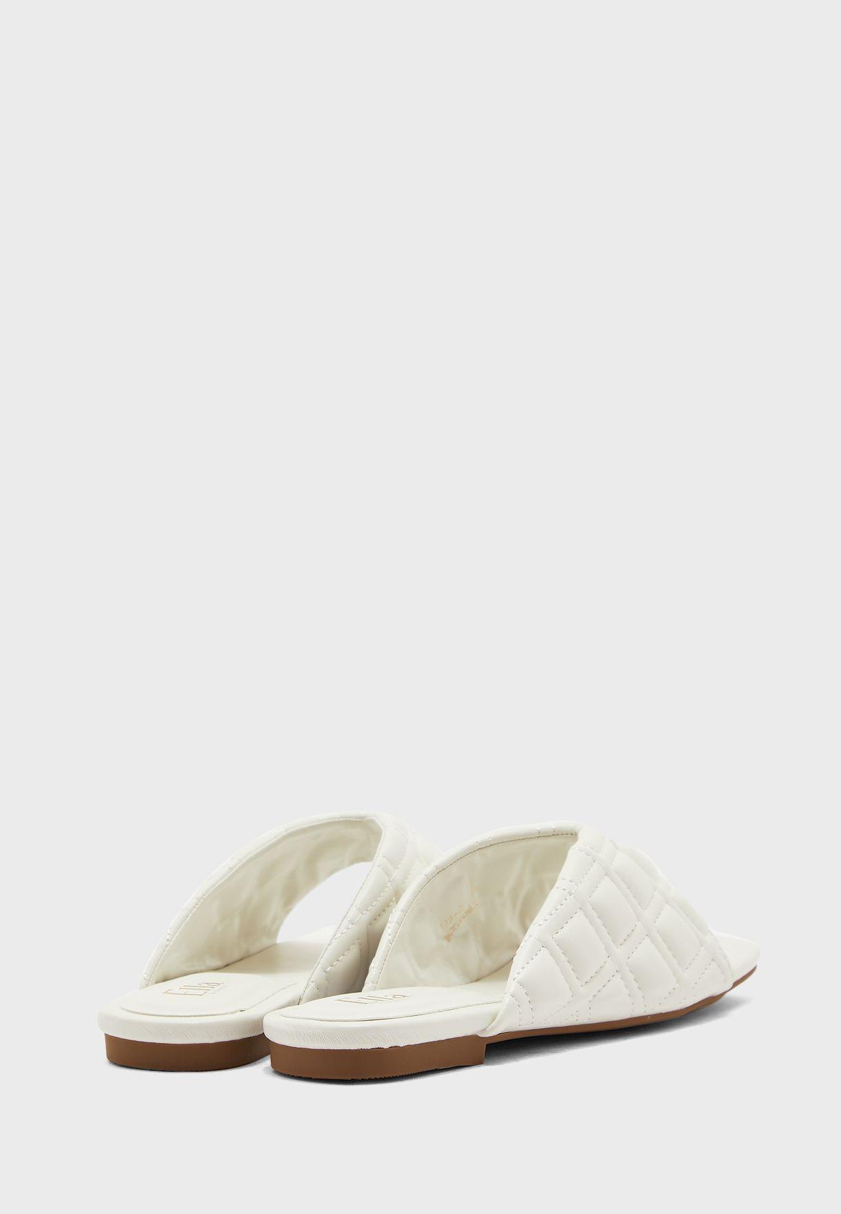 Quilted V Shape Flat Sandal