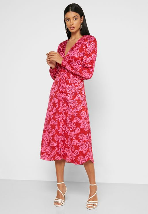 Balloon Sleeve Printed Wrap Dress
