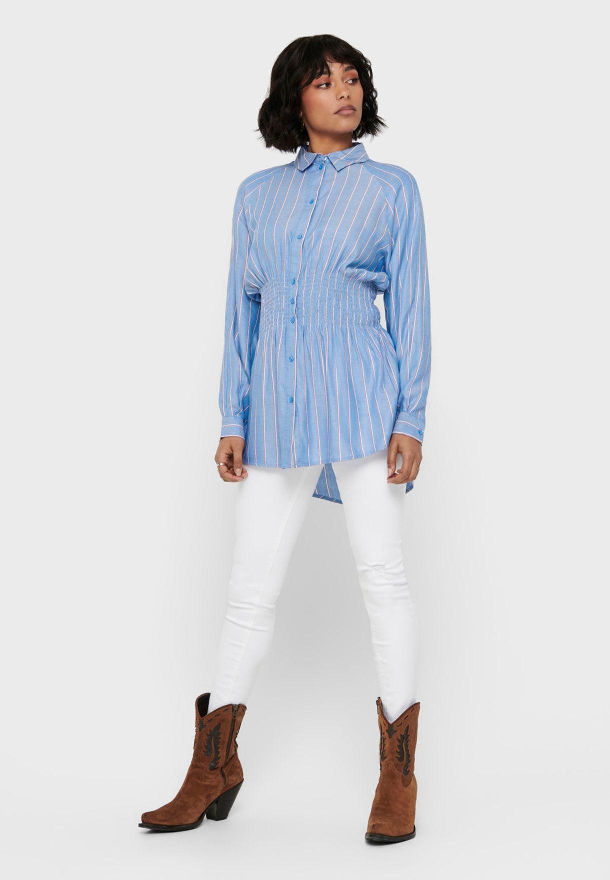 قميص بخطوط وخصر مزموم