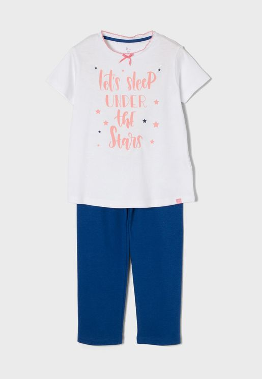 Kids Slogan Pyjama Set