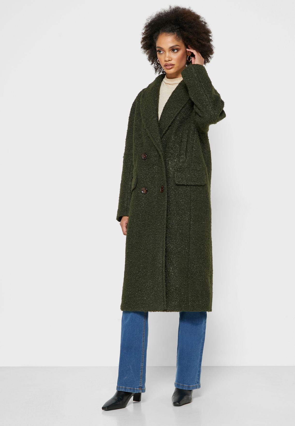 معطف طويل بأزرار مزدوجة