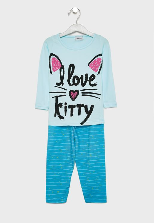 Slogan Printed Pyjama Set