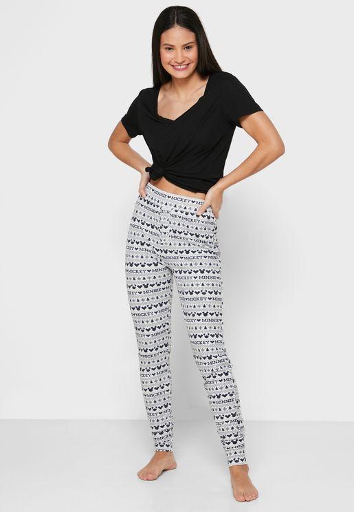 Tie Waist Printed Cuffed Pyjama