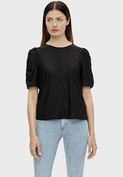 Ruched Sleeve Crochet Top