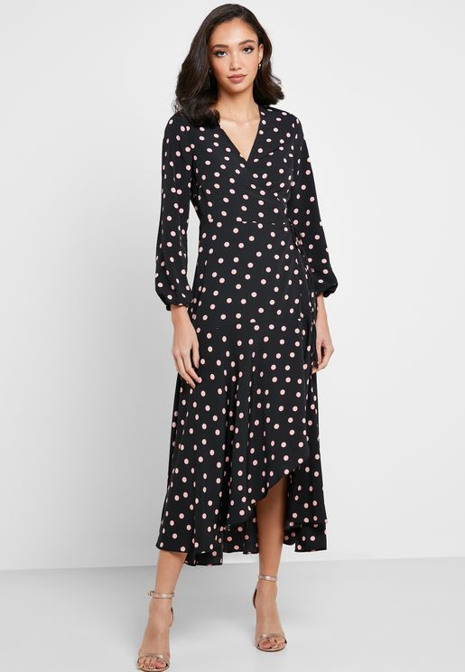 Polka Dot Wrap Plunge Dress