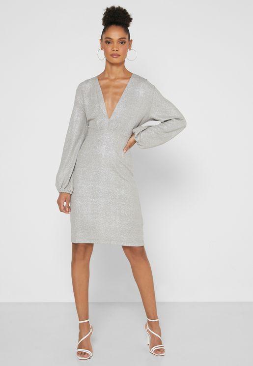 Plunge Neck Sparkle Mini Dress