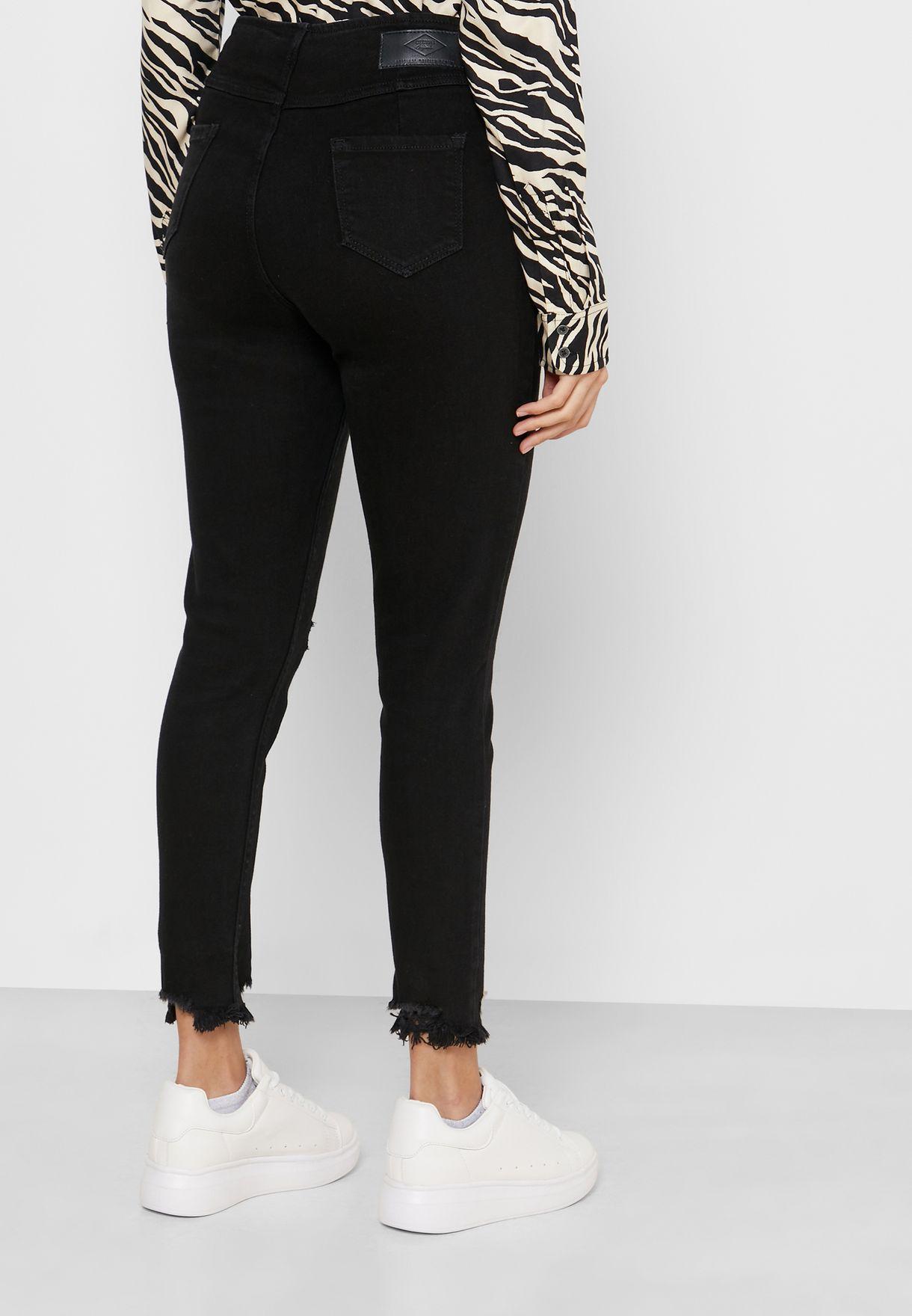 Zip Detail Distressed Jeans