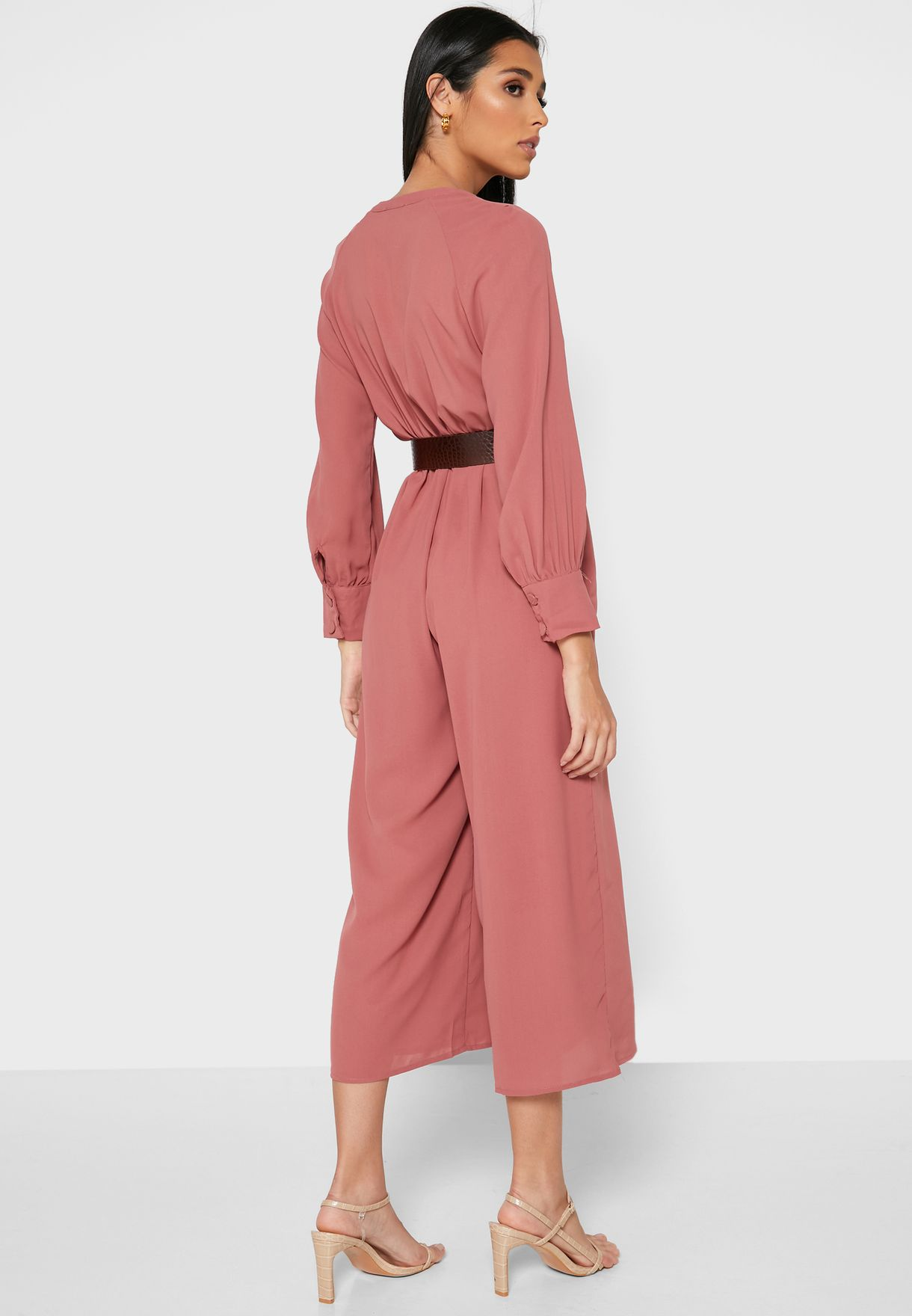 Wrap Front Belted Jumpsuit