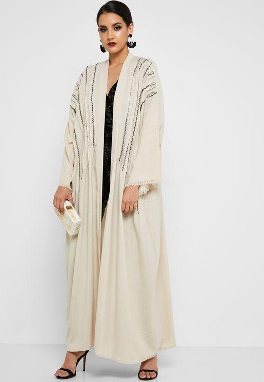 Pleated Embroidered Abaya