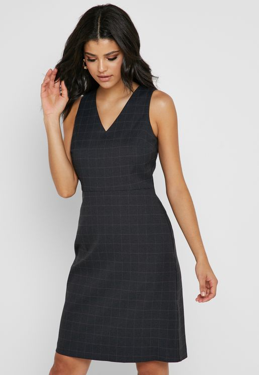 Checked Pencil Dress
