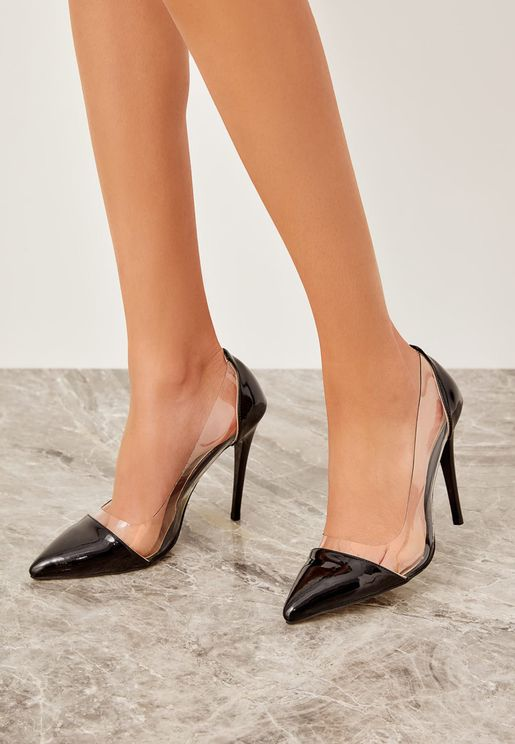 Milla Transparent Detail Pump - Black