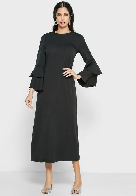 فستان ماكسي باكمام طبقات