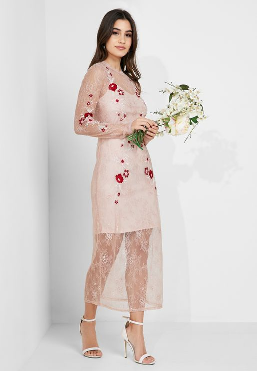 Embroidered Lace Mesh Maxi Dress