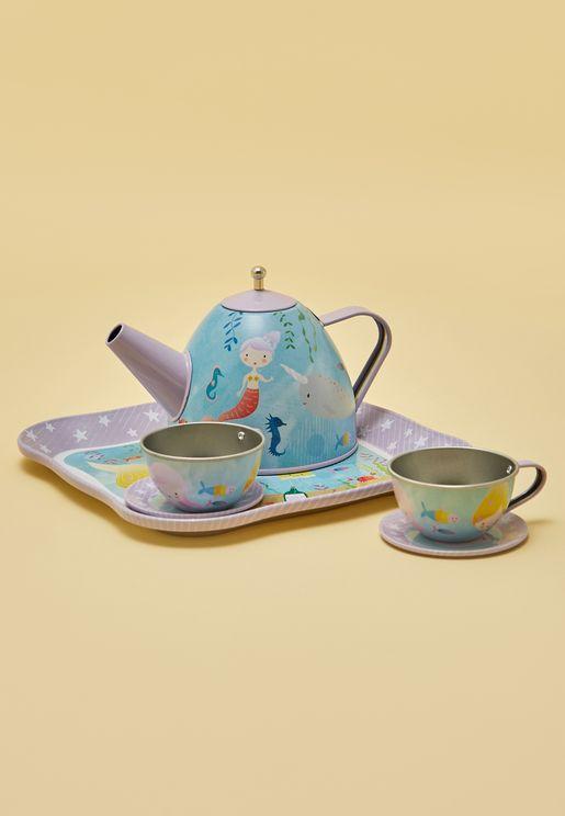لعبة طقم شاي 7 قطع مزينة بطباعة حورية البحر
