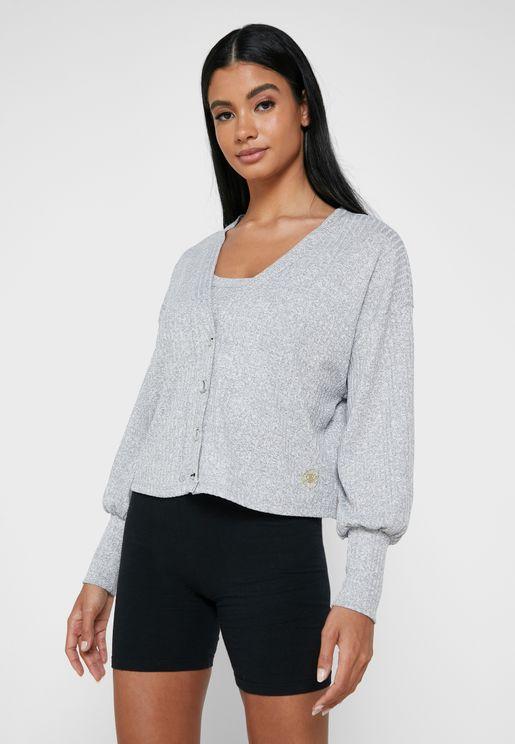Rib Lounge Cardigan & Vest Set