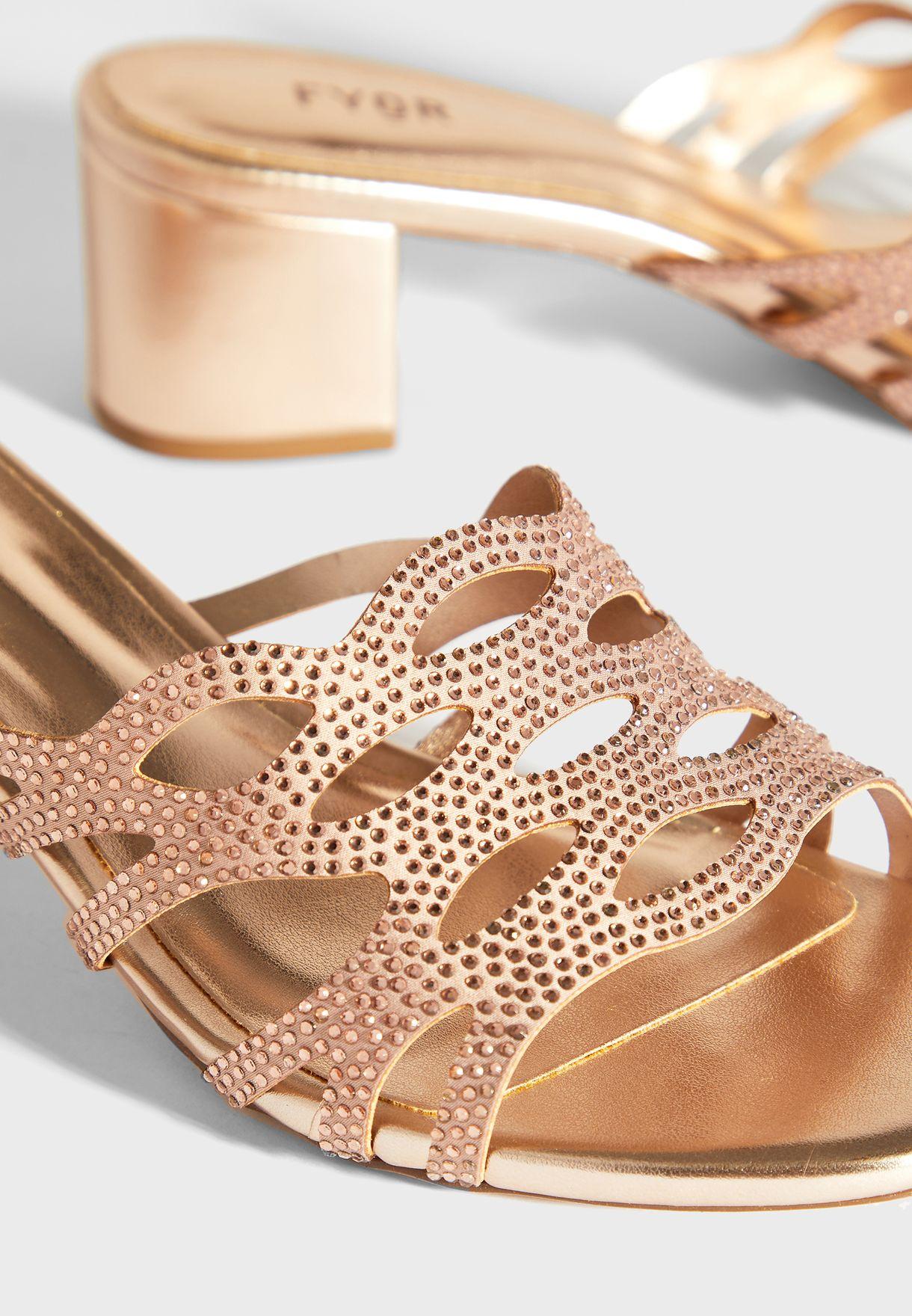 Mid Heel Wedge Sandals