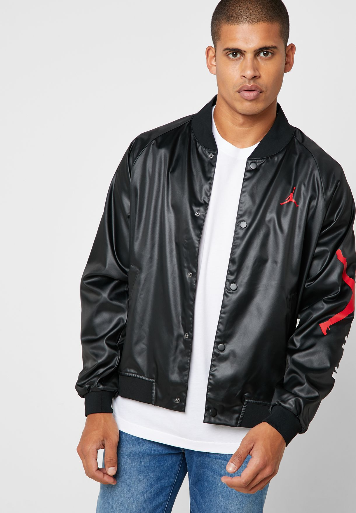 e3577e66a59199 Shop Nike black Jordan Jumpman Stadium Jacket AO0444-010 for Men in ...