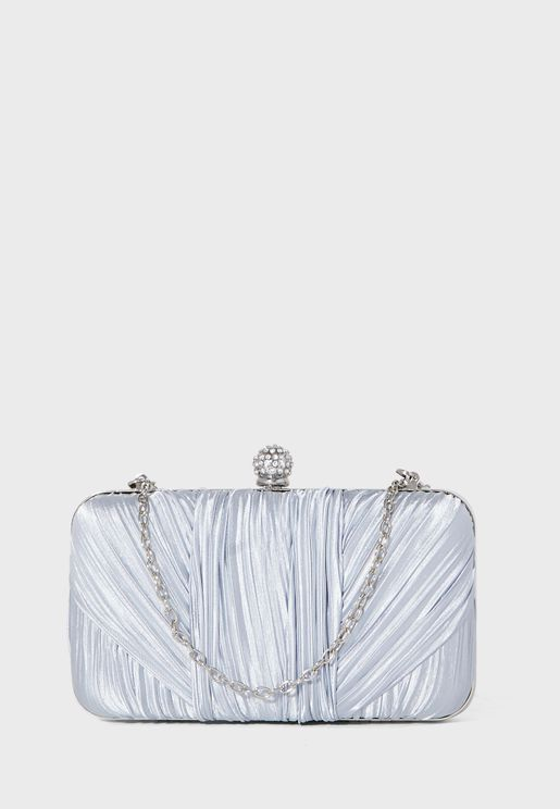 Twisted Satin Box Clutch Bag