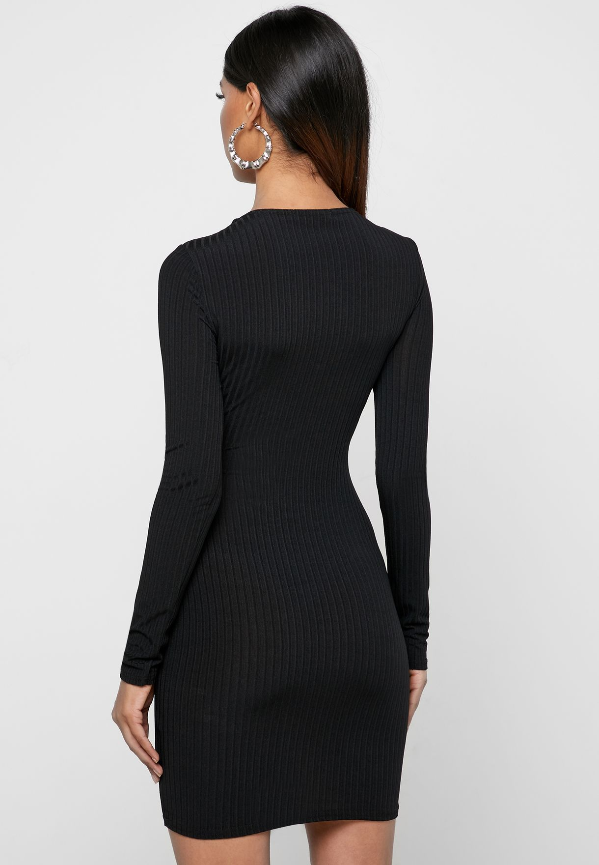 Ribbed O- Ring Cut Out Dress