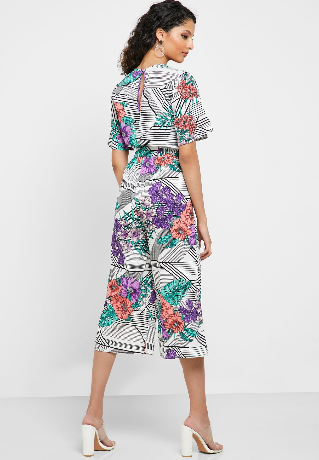 Floral Print Wrap Front Culotte Jumpsuit