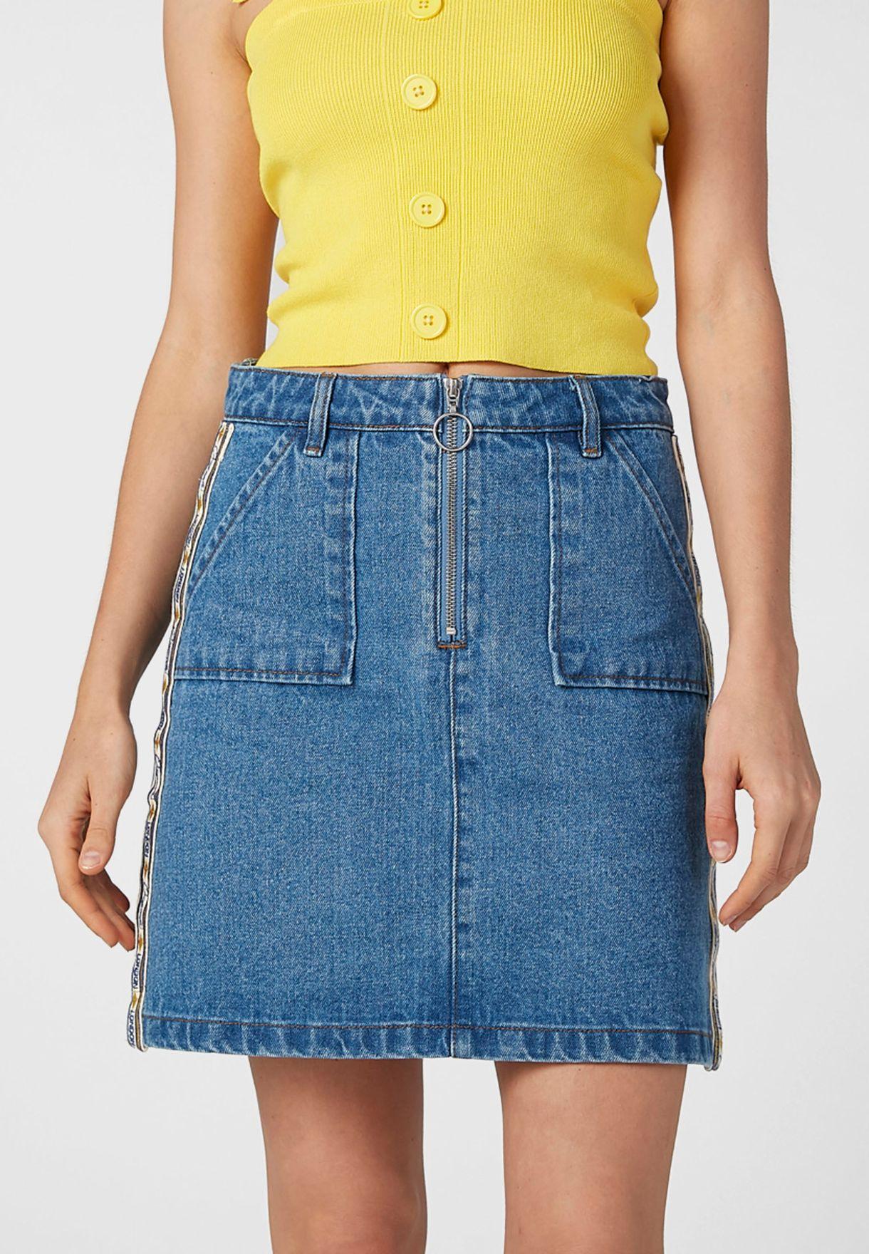 Zip Detail Denim Skirt