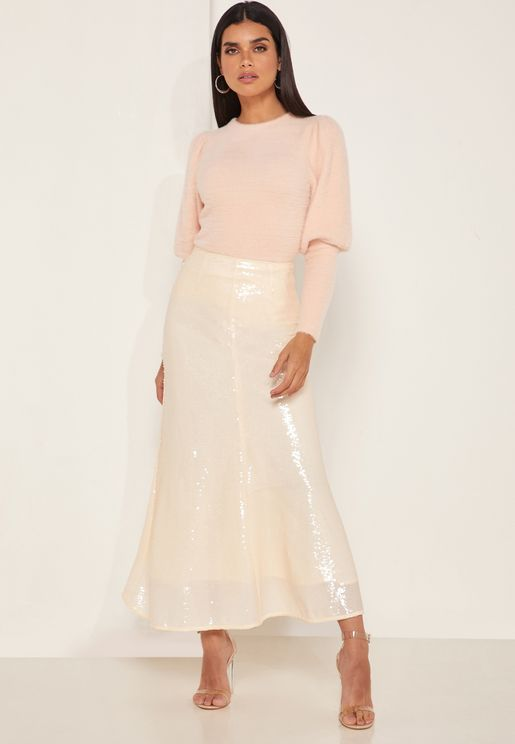Farewell Ruffle Hem Midi Skirt