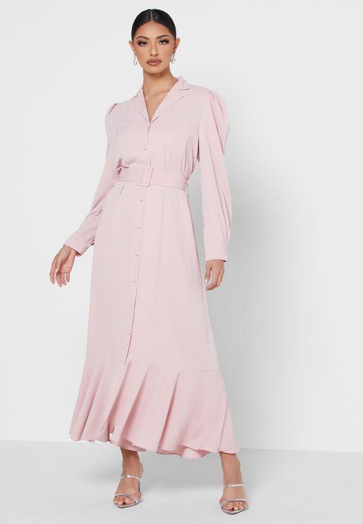 فستان بأزرار وحزام خصر
