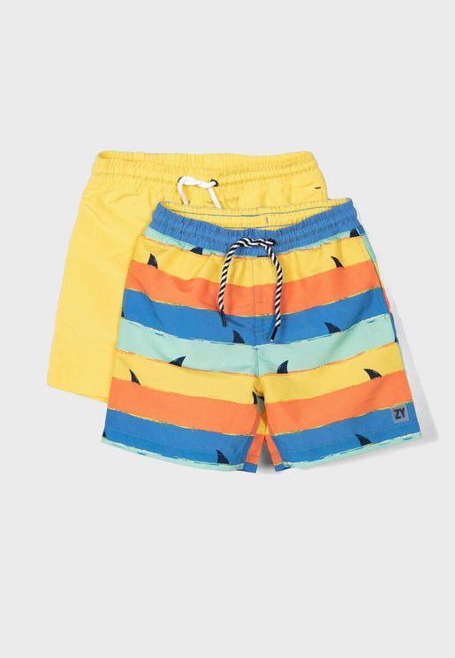 Kids 2 Pack Color Striped Shorts