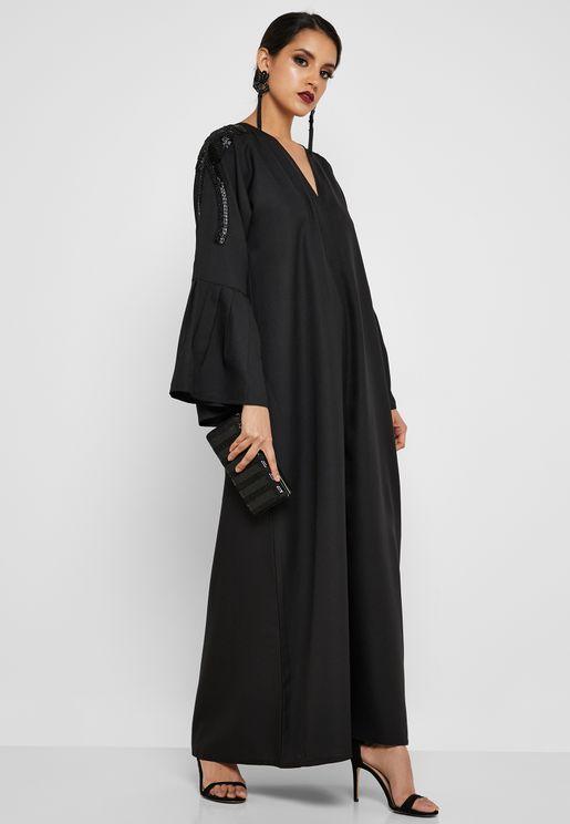 6e65f03688 Pleated Sleeve Beaded Abaya