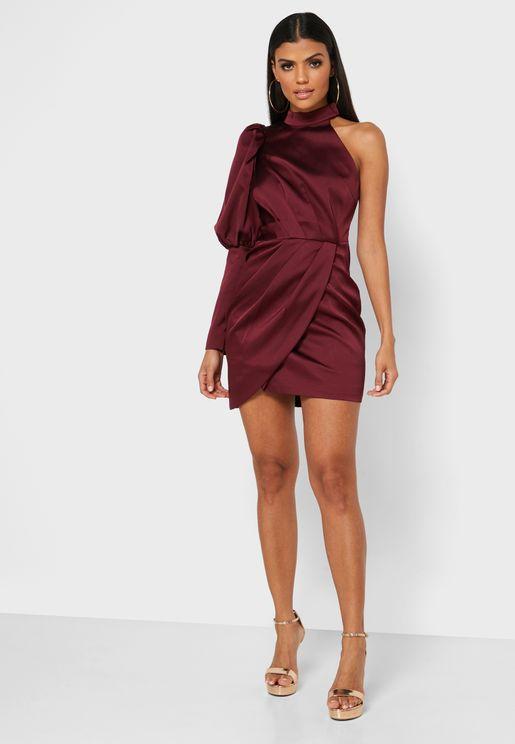 High Neck Wrap Dress