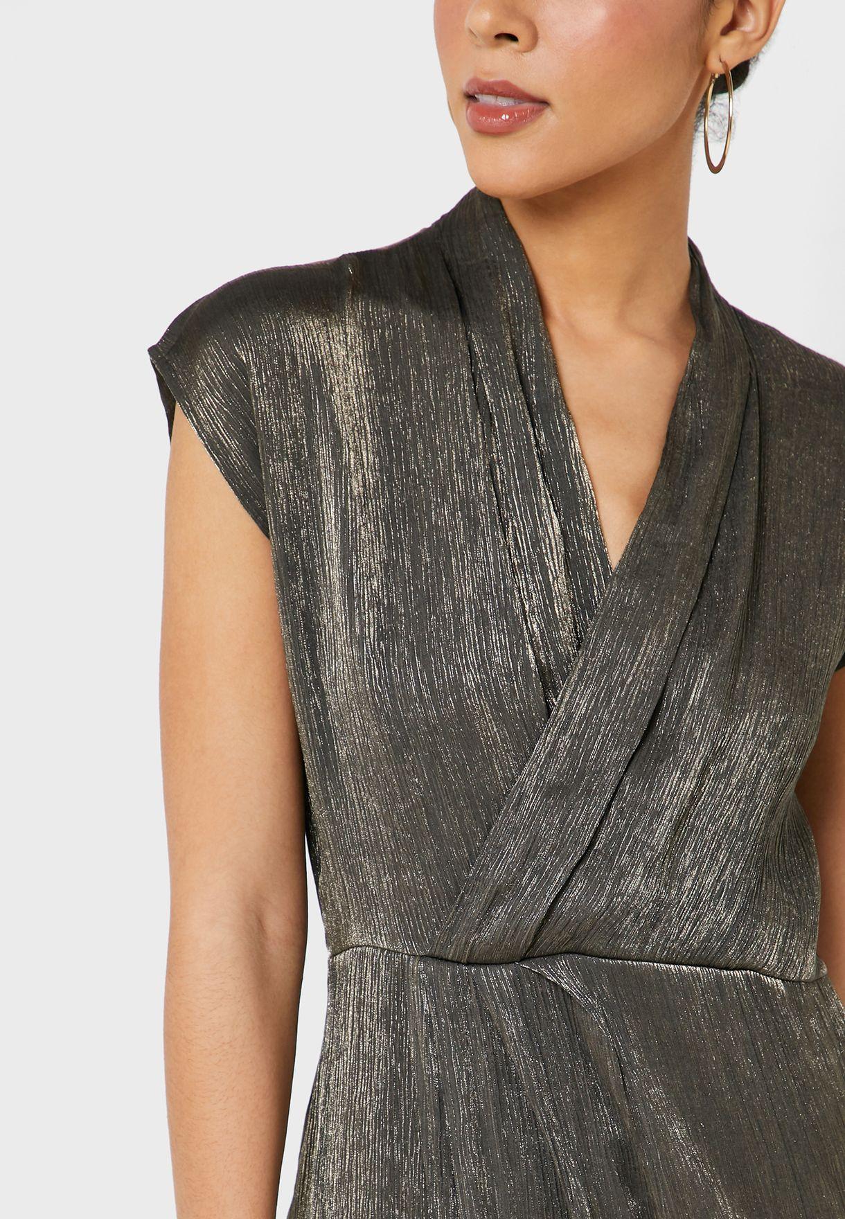 Cape Sleeve Pleated Wrap Dress
