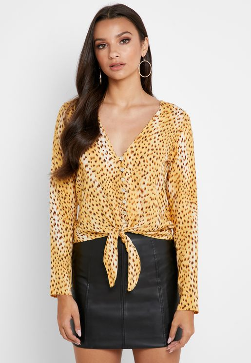 Front Knot Animal Print Top