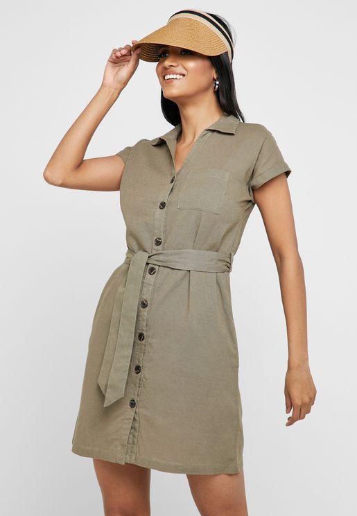 Belted Short Sleeve Dress