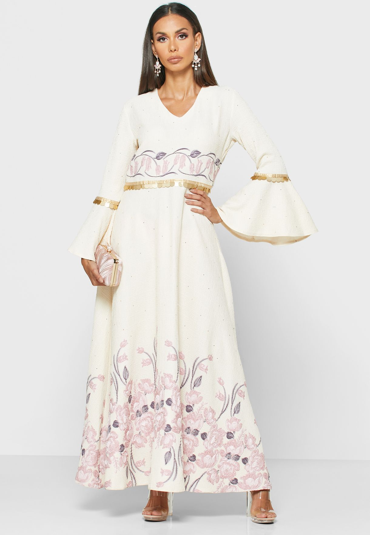 Balloon Sleeve Jacquard Dress
