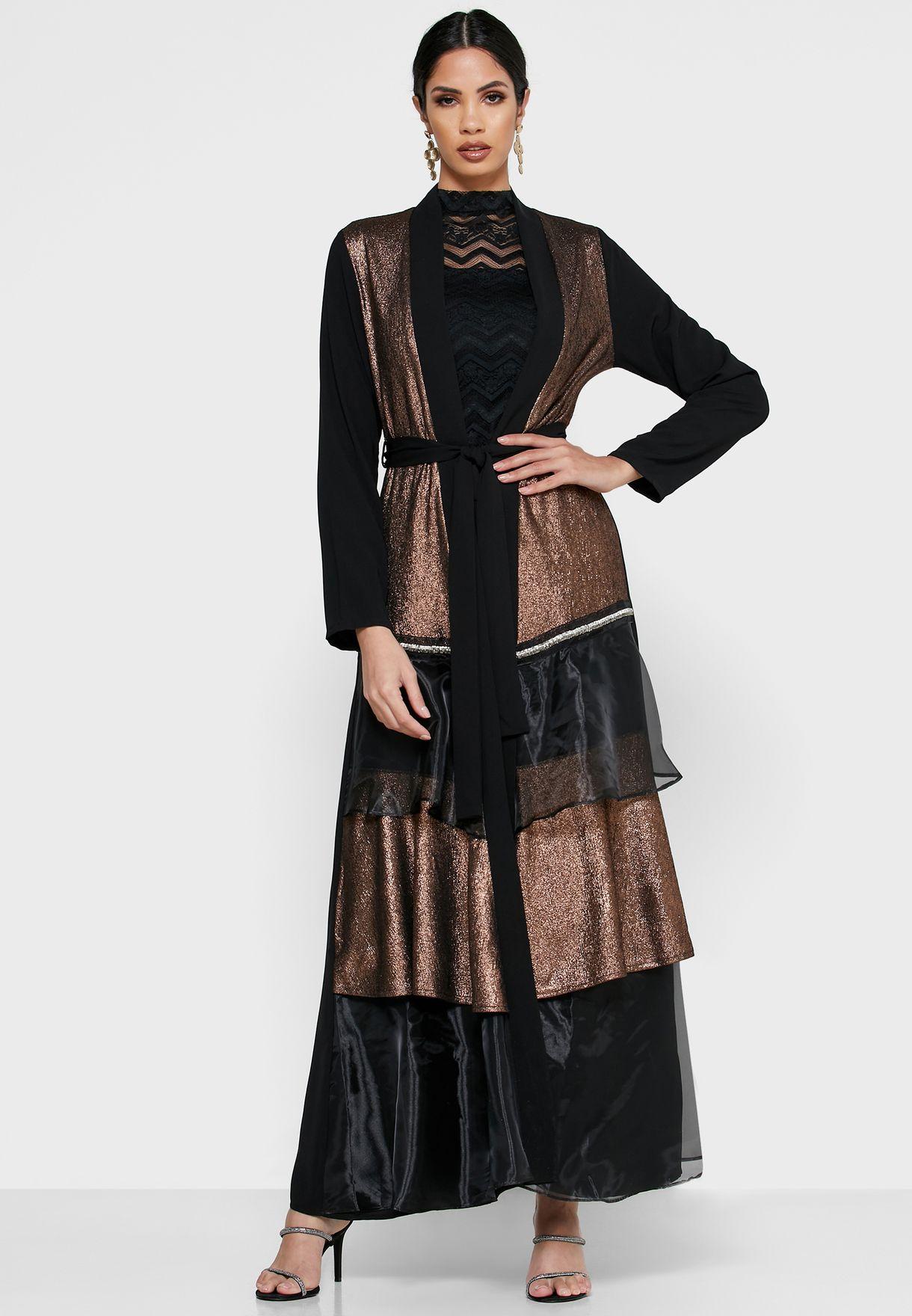 Tiered Lurex Organza Self Tie Abaya