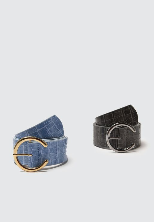 Leather Buckled Belt Set